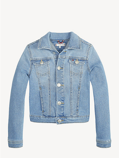TOMMY HILFIGER Flag Appliqué Denim Jacket - SHORE SALT LIGHT BLUE STRETCH - TOMMY HILFIGER Trousers, Shorts & Skirts - detail image 1