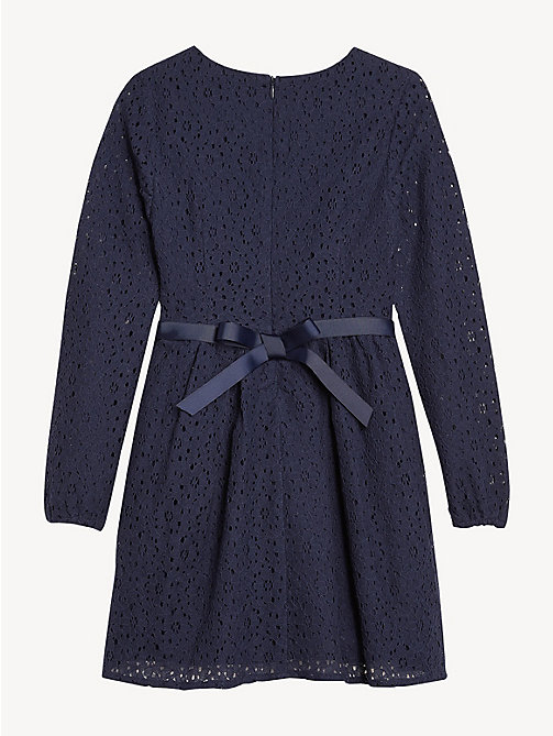 TOMMY HILFIGER Flower Lace Long Sleeve Dress - BLACK IRIS - TOMMY HILFIGER Dresses - detail image 1