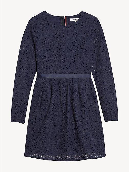 TOMMY HILFIGER Flower Lace Long Sleeve Dress - BLACK IRIS - TOMMY HILFIGER Dresses - main image