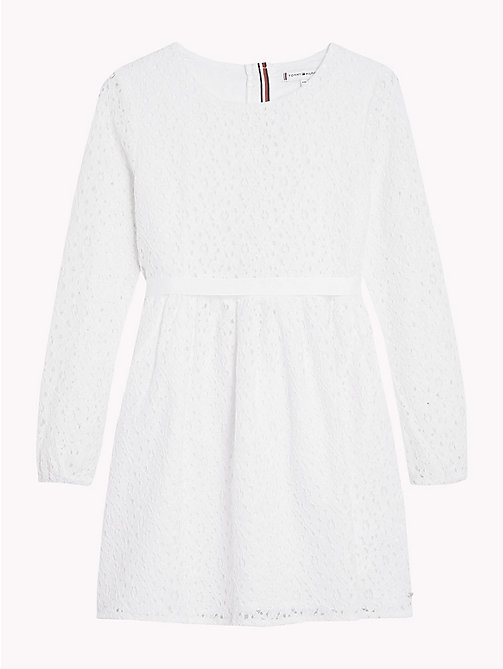 TOMMY HILFIGER Flower Lace Long Sleeve Dress - BRIGHT WHITE - TOMMY HILFIGER Dresses - detail image 1