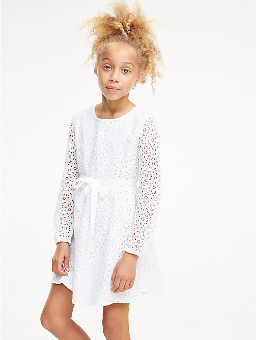 TOMMY HILFIGER Flower Lace Long Sleeve Dress - BRIGHT WHITE - TOMMY HILFIGER Dresses - main image