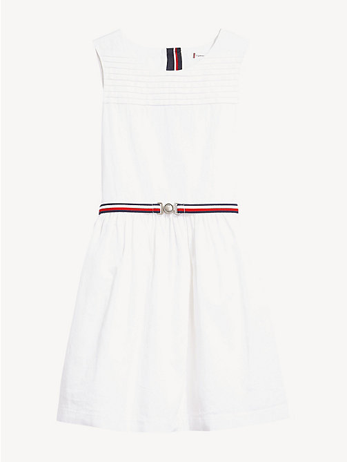 TOMMY HILFIGER Pleated Detail Sleeveless Dress - BRIGHT WHITE - TOMMY HILFIGER Dresses - detail image 1