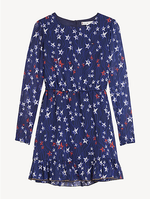 TOMMY HILFIGER Star Print Ruffle Hem Dress - BLACK IRIS / MULTI - TOMMY HILFIGER Dresses - detail image 1