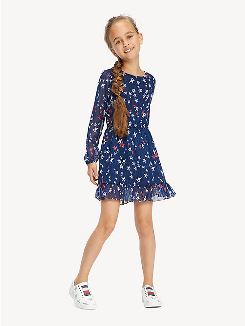 TOMMY HILFIGER Star Print Ruffle Hem Dress - BLACK IRIS/MULTI - TOMMY HILFIGER Dresses - main image