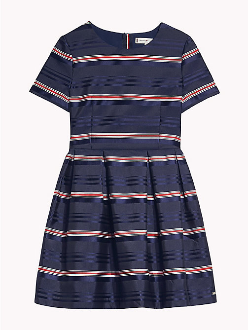 TOMMY HILFIGER Satin Stripe Short Sleeve Dress - BLACK IRIS/MULTI - TOMMY HILFIGER Dresses - detail image 1