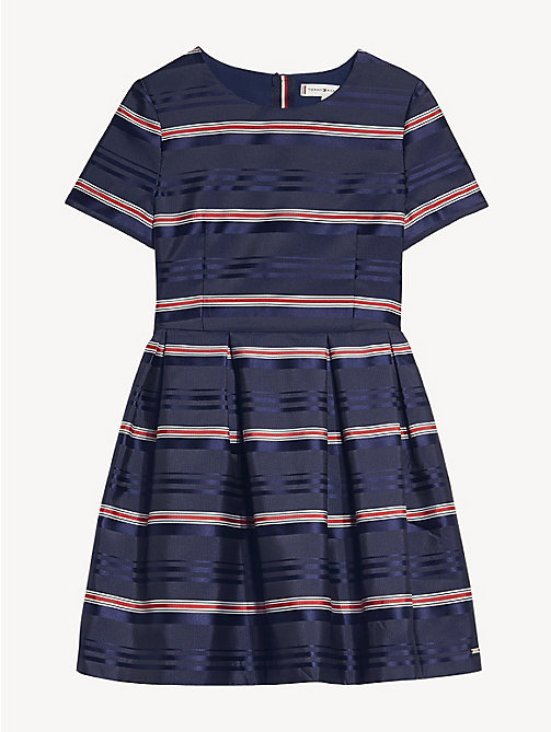 TOMMY HILFIGER Satin Stripe Short Sleeve Dress - BLACK IRIS / MULTI - TOMMY HILFIGER Dresses - detail image 1