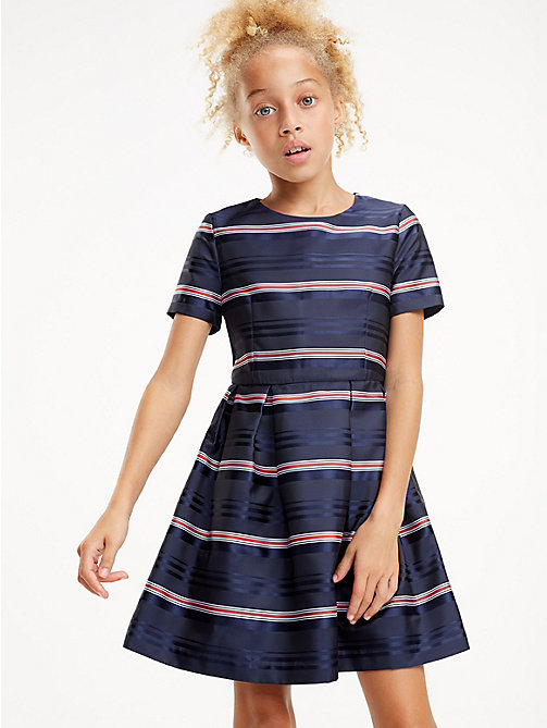 TOMMY HILFIGER Satin Stripe Short Sleeve Dress - BLACK IRIS / MULTI - TOMMY HILFIGER Dresses - main image