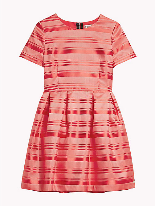 TOMMY HILFIGER Satin Stripe Short Sleeve Dress - TEABERRY - TOMMY HILFIGER Dresses - detail image 1