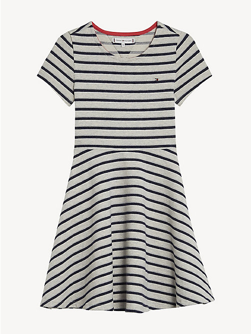 TOMMY HILFIGER Sparke Stripe Knit Dress - LIGHT GREY HTR - TOMMY HILFIGER Dresses - detail image 1