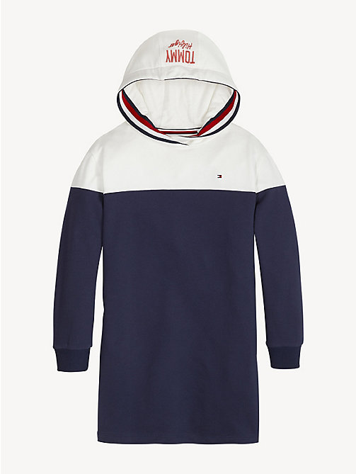 TOMMY HILFIGER Colour-blocked hoodiejurk - BLACK IRIS / BRIGHT WHITE - TOMMY HILFIGER Jurken - main image