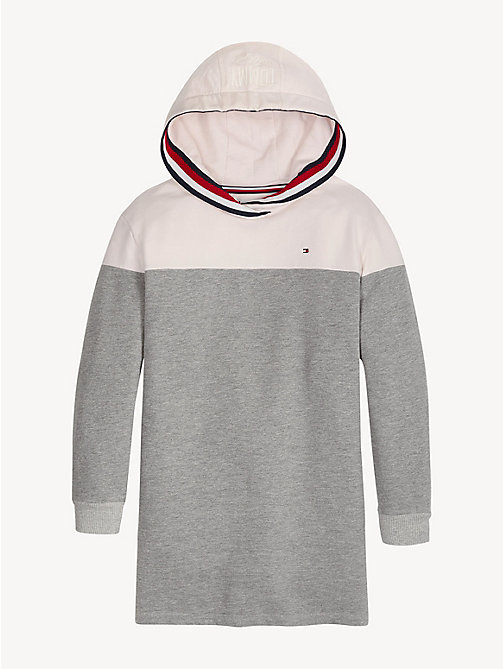 TOMMY HILFIGER Colour-blocked hoodiejurk - LIGHT GREY HTR/BARELY PINK - TOMMY HILFIGER Jurken - detail image 1