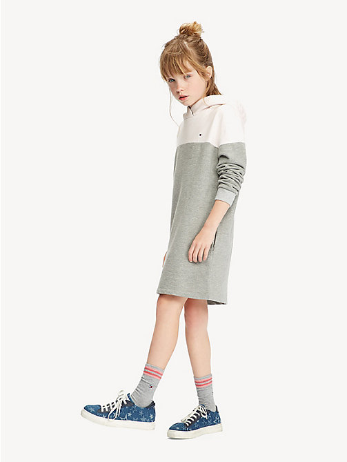 TOMMY HILFIGER Colour-Blocked Hoody Dress - LIGHT GREY HTR/BARELY PINK - TOMMY HILFIGER Trousers, Shorts & Skirts - main image