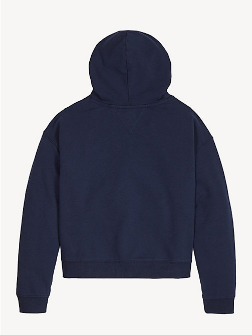 TOMMY HILFIGER Cotton Terry Logo Hoody - BLACK IRIS - TOMMY HILFIGER Sweatshirts & Hoodies - detail image 1