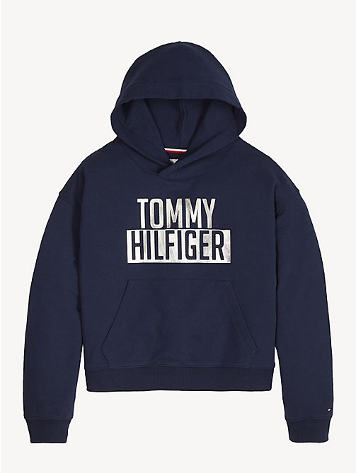 TOMMY HILFIGER Cotton Terry Logo Hoody - BLACK IRIS - TOMMY HILFIGER Swimwear - main image