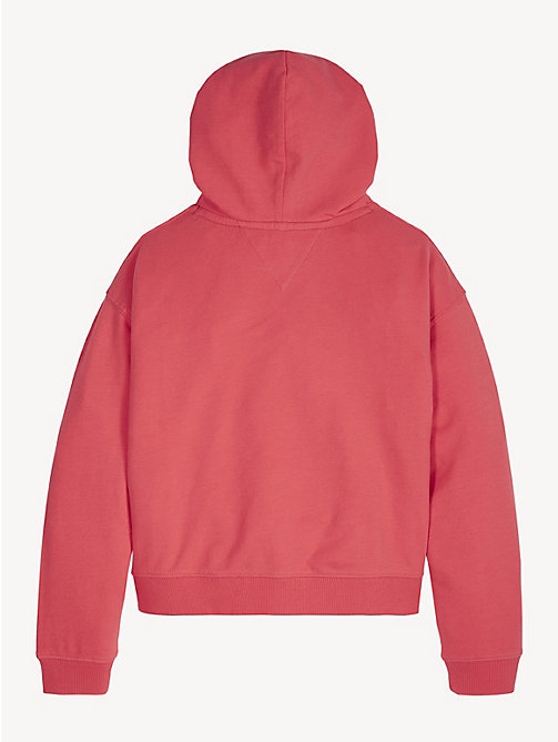 TOMMY HILFIGER Cotton Terry Logo Hoody - TEABERRY - TOMMY HILFIGER Trousers, Shorts & Skirts - detail image 1