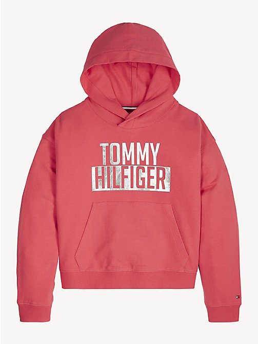 TOMMY HILFIGER Cotton Terry Logo Hoody - TEABERRY - TOMMY HILFIGER Trousers, Shorts & Skirts - main image