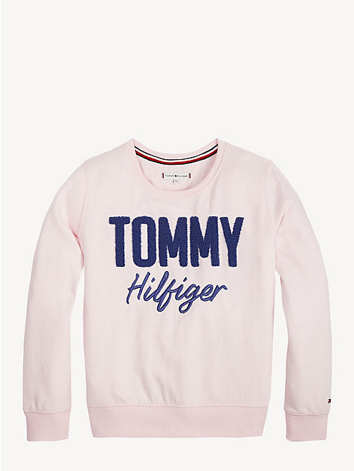TOMMY HILFIGER Crew Neck Logo Sweatshirt - BARELY PINK - TOMMY HILFIGER Trousers, Shorts & Skirts - main image