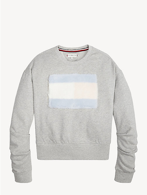 TOMMY HILFIGER Faux Fur Flag Sweatshirt - LIGHT GREY HTR - TOMMY HILFIGER Sweatshirts & Hoodies - detail image 1