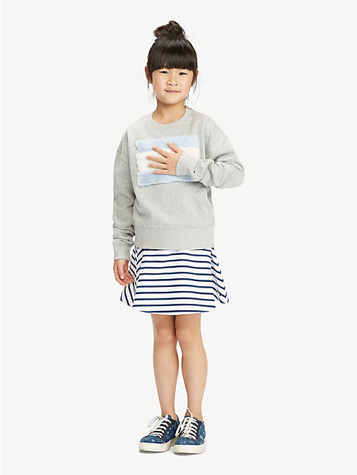 TOMMY HILFIGER Faux Fur Flag Sweatshirt - LIGHT GREY HTR - TOMMY HILFIGER Sweatshirts & Hoodies - main image