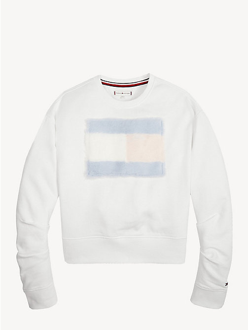 TOMMY HILFIGER Faux Fur Flag Sweatshirt - BRIGHT WHITE - TOMMY HILFIGER Sweatshirts & Hoodies - main image