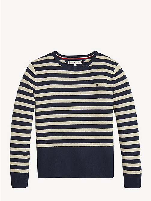 TOMMY HILFIGER Stripe Crew Neck Jumper - BLACK IRIS/GOLD LUREX - TOMMY HILFIGER Knitwear - detail image 1