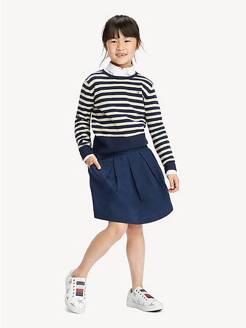 TOMMY HILFIGER Stripe Crew Neck Jumper - BLACK IRIS/GOLD LUREX - TOMMY HILFIGER Knitwear - main image