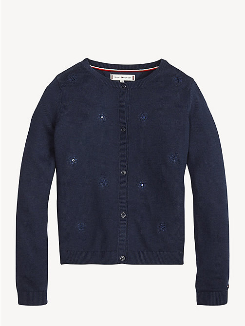 TOMMY HILFIGER Floral Sequin Embroidery Cardigan - BLACK IRIS - TOMMY HILFIGER Knitwear - main image