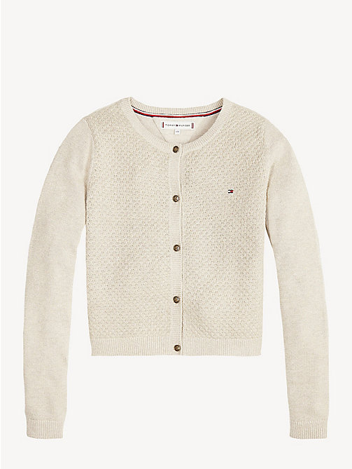 TOMMY HILFIGER Metallic Weave Waffle Texture Cardigan - GOLD LUREX - TOMMY HILFIGER Knitwear - detail image 1