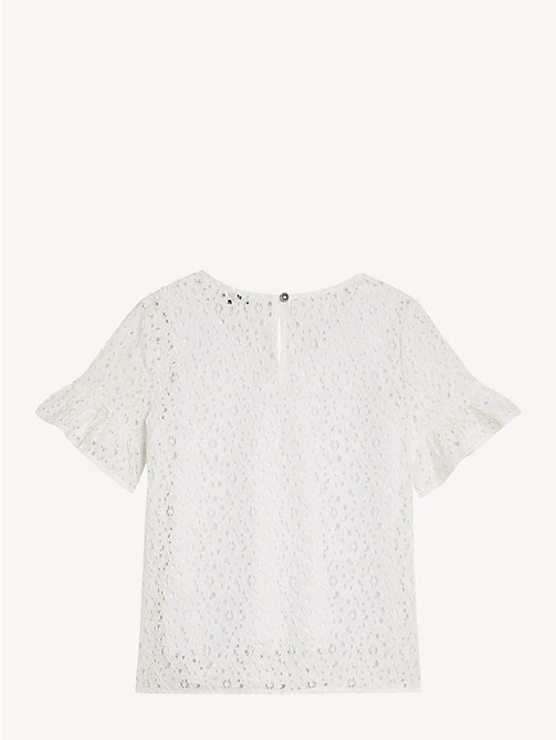 TOMMY HILFIGER Floral Lace Top - BRIGHT WHITE - TOMMY HILFIGER Tops & T-shirts - detail image 1
