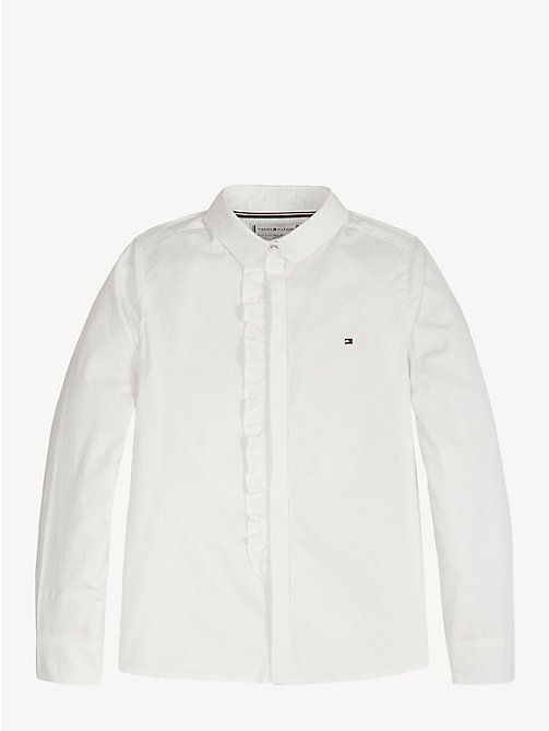 TOMMY HILFIGER Ruffle Placket Cotton Shirt - BRIGHT WHITE - TOMMY HILFIGER Tops & T-shirts - main image