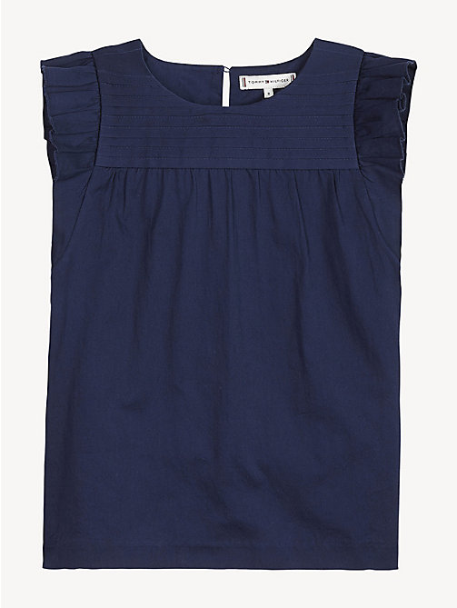 TOMMY HILFIGER Pure Cotton Pleated Sleeveless Top - BLACK IRIS - TOMMY HILFIGER Tops & T-shirts - detail image 1