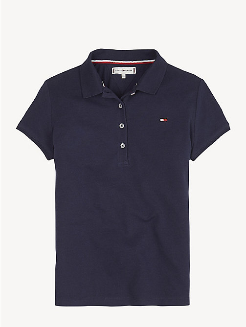 TOMMY HILFIGER Contrast Stripe Collar Polo Shirt - BLACK IRIS - TOMMY HILFIGER Trousers, Shorts & Skirts - main image