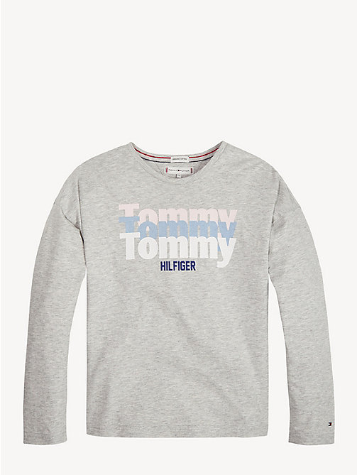 TOMMY HILFIGER T-shirt in cotone biologico con triplo logo - LIGHT GREY HTR - TOMMY HILFIGER Top & T-shirt - immagine principale