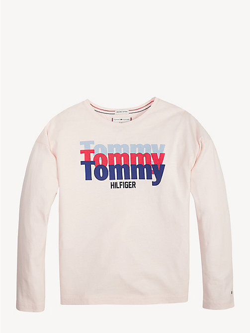 TOMMY HILFIGER Organic Cotton Triple Logo T-Shirt - BARELY PINK - TOMMY HILFIGER Trousers, Shorts & Skirts - main image