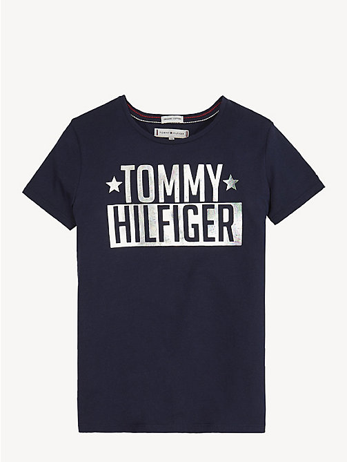 TOMMY HILFIGER Organic Cotton Logo T-Shirt - BLACK IRIS - TOMMY HILFIGER Trousers, Shorts & Skirts - main image