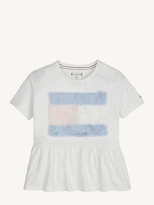 TOMMY HILFIGER Pure Cotton Flag Peplum T-Shirt - BRIGHT WHITE - TOMMY HILFIGER Tops & T-shirts - detail image 1