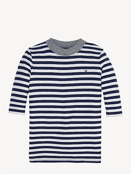 TOMMY HILFIGER Contrast Mock Neck Stripe Top - BLACK IRIS / BRIGHT WHITE - TOMMY HILFIGER Tops & T-shirts - detail image 1