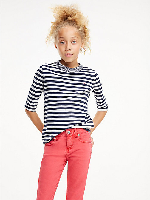TOMMY HILFIGER Contrast Mock Neck Stripe Top - BLACK IRIS / BRIGHT WHITE - TOMMY HILFIGER Trousers, Shorts & Skirts - main image