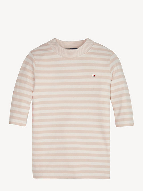 TOMMY HILFIGER Maglia a righe con collo a lupetto in contrasto - BARELY PINK/BRIGHT WHITE - TOMMY HILFIGER Top & T-shirt - immagine principale