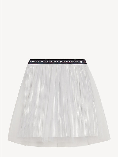 TOMMY HILFIGER Tulle Mesh Pleated Skirt - BRIGHT WHITE - TOMMY HILFIGER Trousers, Shorts & Skirts - detail image 1