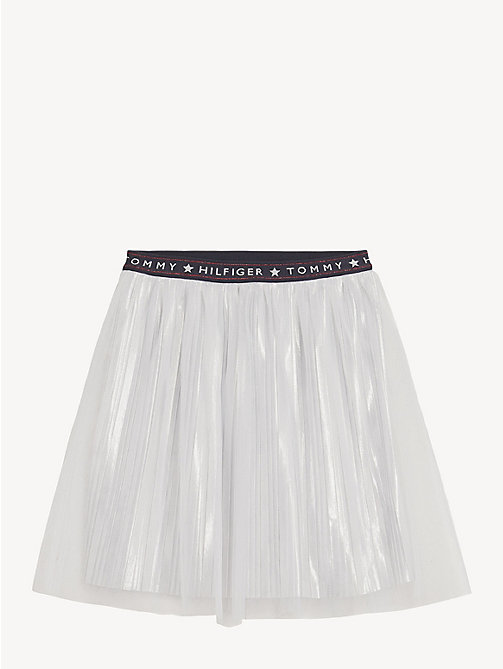 TOMMY HILFIGER Tulle Mesh Pleated Skirt - BRIGHT WHITE - TOMMY HILFIGER Trousers, Shorts & Skirts - main image