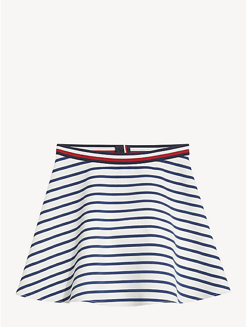 TOMMY HILFIGER All-Over Stripe Skater Skirt - BLACK IRIS / BRIGHT WHITE - TOMMY HILFIGER Trousers, Shorts & Skirts - detail image 1