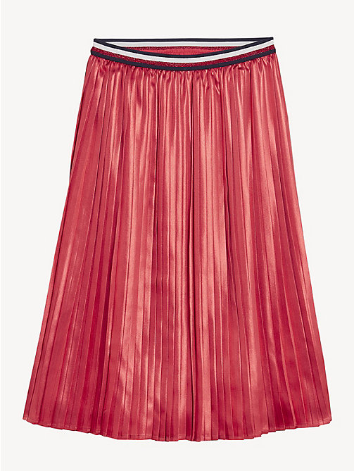 TOMMY HILFIGER Pleated Metallic Satin Midi Skirt - TEABERRY - TOMMY HILFIGER Trousers, Shorts & Skirts - detail image 1