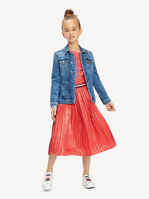 TOMMY HILFIGER Pleated Metallic Satin Midi Skirt - TEABERRY - TOMMY HILFIGER Trousers, Shorts & Skirts - main image
