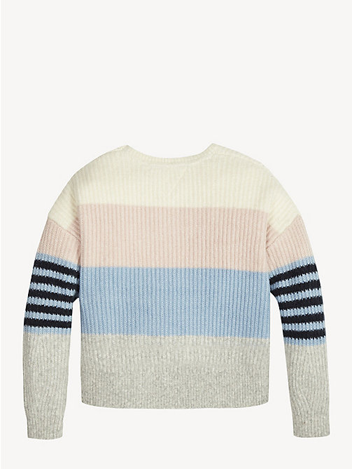 TOMMY HILFIGER Rib-Knit Crew Neck Jumper - BRIGHT WHITE - TOMMY HILFIGER Knitwear - detail image 1