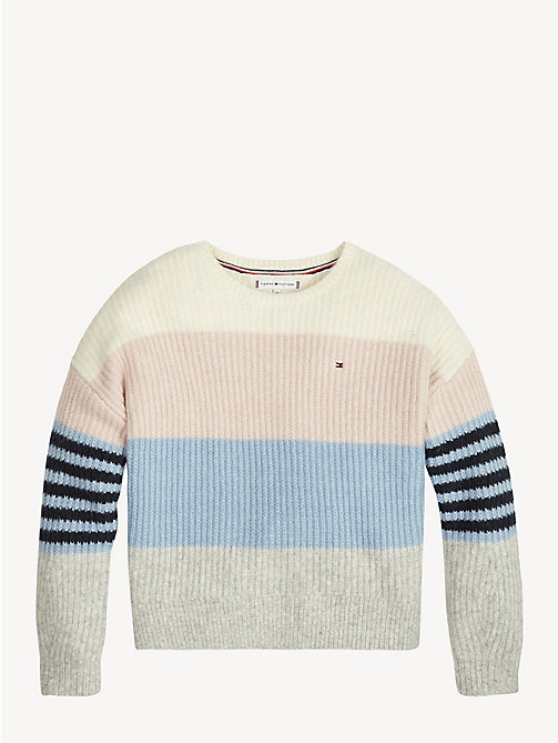 TOMMY HILFIGER Rib-Knit Crew Neck Jumper - BRIGHT WHITE - TOMMY HILFIGER Knitwear - main image
