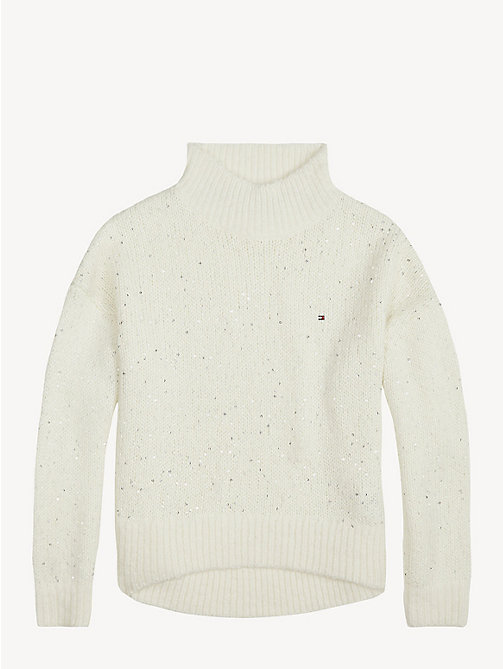 TOMMY HILFIGER Sequin Weave Turtleneck Jumper - BRIGHT WHITE - TOMMY HILFIGER Knitwear - detail image 1