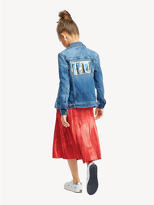 TOMMY HILFIGER Oversized Sequin Appliqué Denim Jacket - ATLANTIC BLUE STRETCH - TOMMY HILFIGER Coats & Jackets - main image