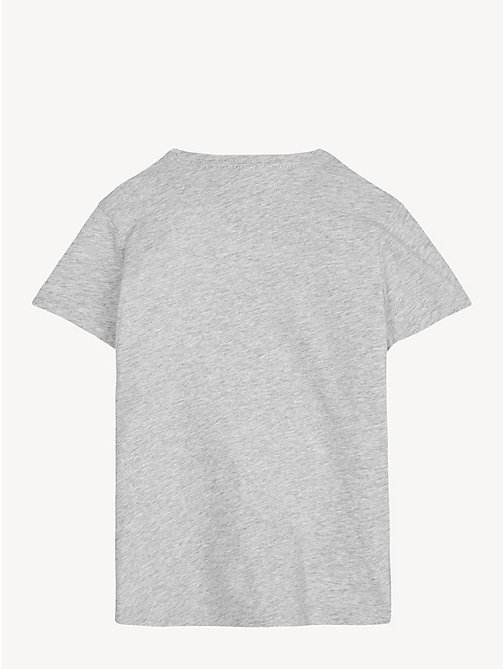 TOMMY HILFIGER Organic Cotton Crew Neck T-Shirt - LIGHT GREY HTR - TOMMY HILFIGER Trousers, Shorts & Skirts - detail image 1