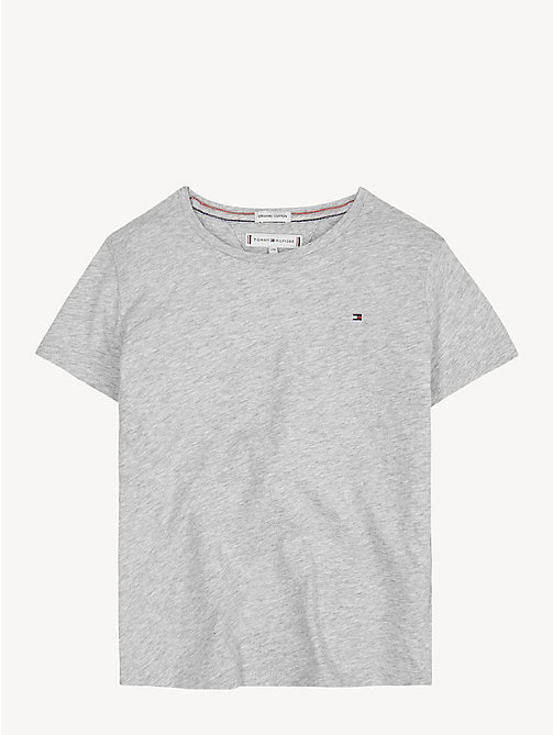 TOMMY HILFIGER Organic Cotton Crew Neck T-Shirt - LIGHT GREY HTR - TOMMY HILFIGER Trousers, Shorts & Skirts - main image